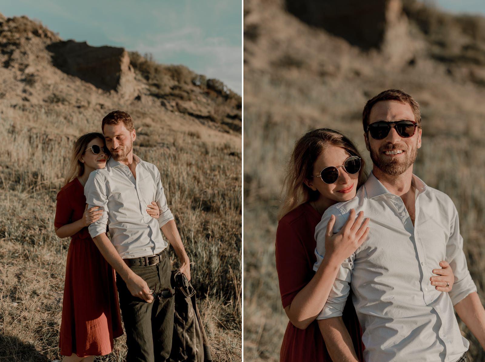 shooting photo vidéo duo couple engagement falaises normandie