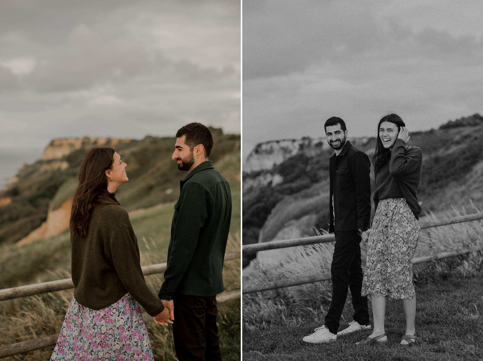 love session photo couple engagement normandie photographe falaises